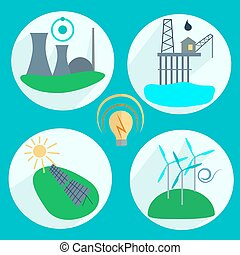 Types of energy production Nuclear power plant, wind...