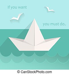 Flat paper ship, sea, seagull - Motivating card into flat...