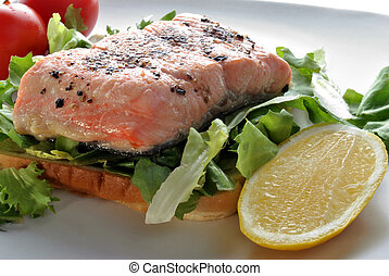 grilled organic wild salmon steak on toast