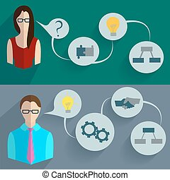 Business people thinking infographics - Set of design...