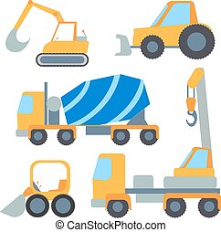 Set flet cars, tractor carrier, concrete mixer, excavator,...