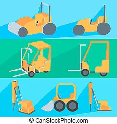 Set flet construction machinery. Roller-stacker, forklift,...