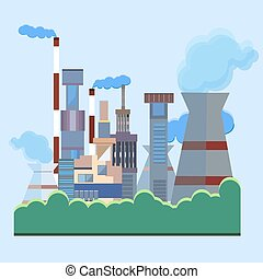 Architectural building factory, chimney, smoke - Plant into...