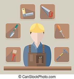 Builder saw, hammer, brush, shovel