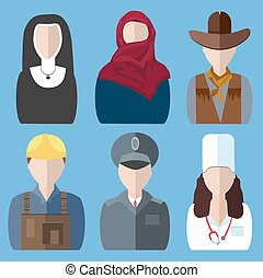 Icons people nurse, nun, police, cowboy, builder, arab woman...
