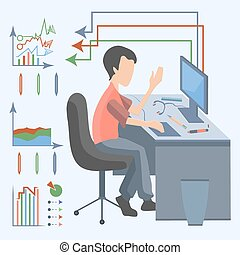 Man computer graphic - Flat design style, modern vector...