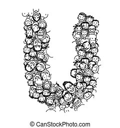 Letter U, people crowd, vector alphabet design