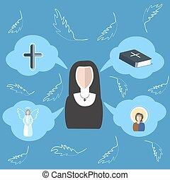 Ángel, nubes, monja, biblia, cruz, icono