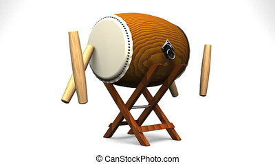Loopable Asian Drum And Sticks On White Background