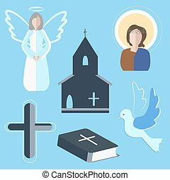 Set icons angel, cross, dove, church - Set of vector...