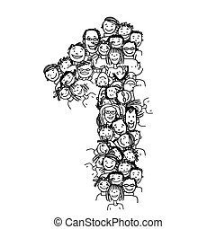 Number one, people crowd, vector alphabet design - Number...