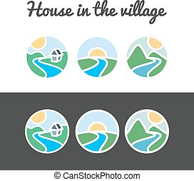 Vector set of nature icons from sun, hills, river,...