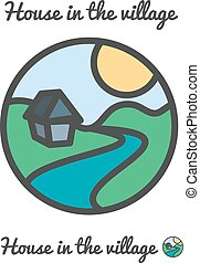 Vector icon, logo of sunset in village, sun, house and river...