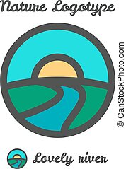 Vector icon, logo of sunset in village, sun and river among...