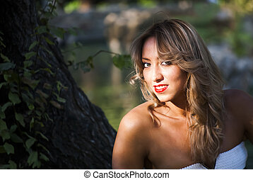Beautiful  Woman  In The Park