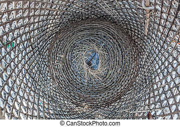Inside of fishing trap - Inside of wooden traditional...
