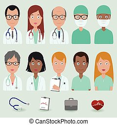 Medical staff people icons - Vector illustration set of a...