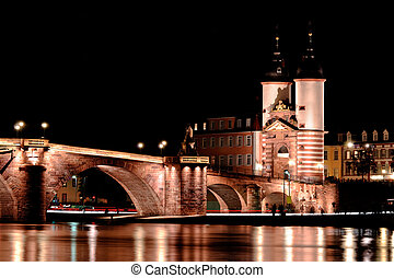 Heidelberg bridge - Romantic view of Heidelberg bridge at...