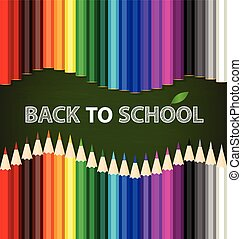 Welcome back to school with Color pencils background, vector illustration.