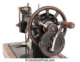 Antique sewing machine close-up