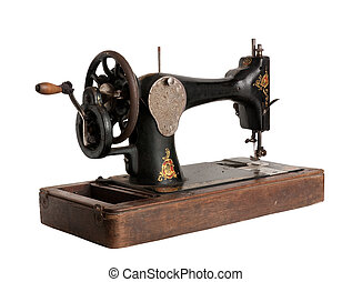 The old sewing machine - Vintage Sewing machine. Isolated...