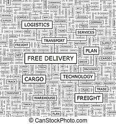 FREE DELIVERY. Seamless pattern. Word cloud illustration.