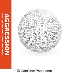 AGGRESSION. Concept illustration. Graphic tag collection....