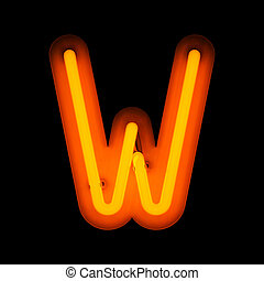 Neon Letter W (Rounded)