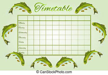 Timetable Rainbow trout vector.eps