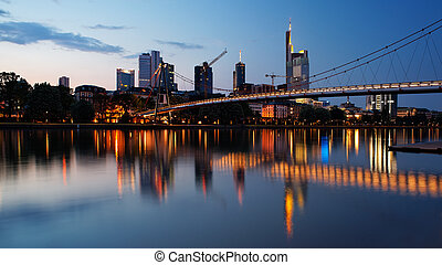 Frankfurt business district at night from the river Main