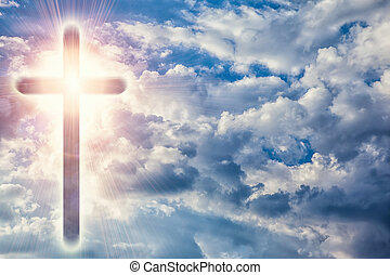 Christian cross in heavens