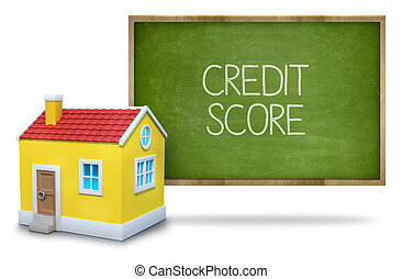 Credit score text on blackboard with 3d house front of...