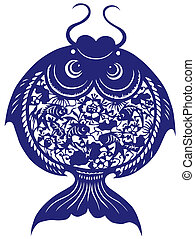 China paper-cut of fish - China traditional paper-cut of...