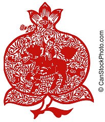 Chinese paper-cut of kirin and peach - Chinese traditional...