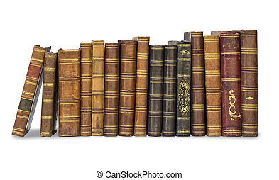old books - collection old books isolated on white with...