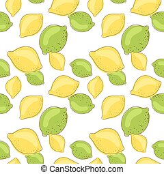 Green lemon and lime fruits on white background. Citrus...
