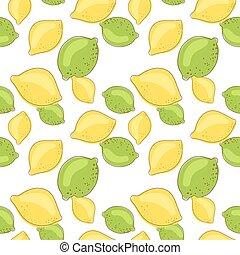 verde, limone, e, calce, frutte, su, bianco, fondo., agrume,...
