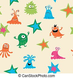 Cute seamless pattern with monsters