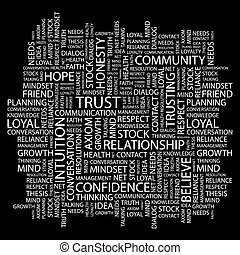 TRUST Word cloud illustration Tag cloud concept collage...