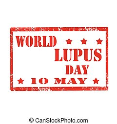 World Lupus Day - Grunge rubber stamp with text World Lupus...