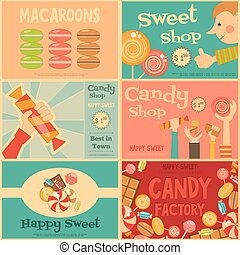 Sweet Shop Mini Posters Set in Retro Style. Advertising...