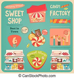Sweet Shop Card. Advertising Candy Store. Vector...