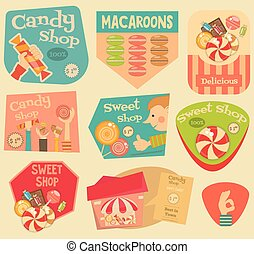 Sweet Shop Stickers Set in Retro Style. Advertising Candy...