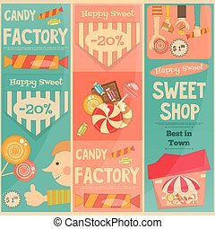 Sweet Shop Mini Vertical Posters Set in Retro Style....