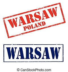 Warsaw-stamps - Set of grunge rubber stamps with text...
