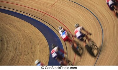cycle race Pursuit - bike track racing sequence top view...