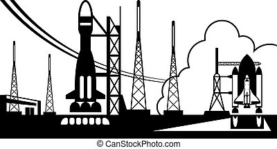 Spaceport with departing rockets - vector illustration
