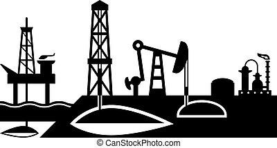 Extraction and processing of oil scene - vector illustration