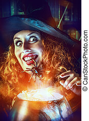 fairytales - Attractive witch in the wizarding lair....