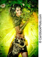 faun tale - Fabulous female Faun in a fairy garden. Fantasy...